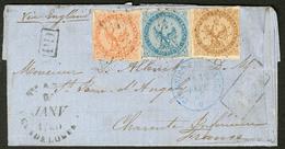 Lettre Guadeloupe. Nos 3 + 4 + 5, Obl Losange Sur Lettre De Ste Anne Janv 60 Pour La France. - TB. - R - Guadeloupe (1884-1947)