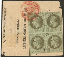 Guadeloupe. No 7, Bloc De Quatre (def) Obl Losange 64 Pts Sur Fragment De Journal De Pointe à Pitre Avec Cad Rouge Paris - Guadeloupe (1884-1947)