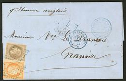 Lettre Guadeloupe. Nos 9 + 13, Obl Losange Bleu Sur Lettre De Pointe à Pitre Sept 73 Pour Granville. - TB - Guadeloupe (1884-1947)