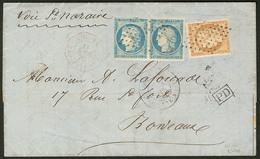 Lettre Guadeloupe. Nos 11 + 12 Paire (un Ex Touché), Obl Losange Sur Lettre De Pointe à Pitre Avril 72 Pour Bordeaux. - - Guadeloupe (1884-1947)