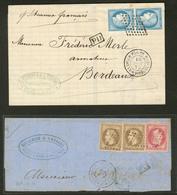 Lettre Guadeloupe. No 23 Paire Verticale Obl Losange Sur Lettre De Mai 75 Et 9 (2) + 10 Sur Fragment De Lettre D'Août 72 - Guadeloupe (1884-1947)
