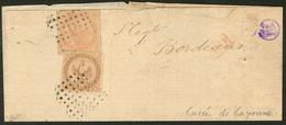 Lettre Guyane. Nos 3 + 5, Obl Carré De Points De Cayenne Sur Grand Fragment De Lettre Pour Bordeaux. - TB - French Guiana (1886-1949)