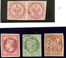 """Inde. Nos 6 Paire Et 10 (pd) Obl Losange """"INDE"""", 17 Et 27 Obl Cad Pondichéry. TB (cote Maury) - India (1892-1954)"""