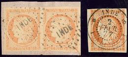 """Inde. No 13, Paire Obl Losange """"INDE"""" Sur Fragment Et Un Ex Obl Cad Pondichéry Fév 77. - TB (cote Maury) - India (1892-1954)"""
