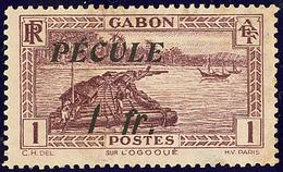 """(*) FISCAUX. Gabon. No 125 Surchargé """"PECULE/1fr"""". - TB - Fiscaux"""