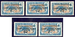 """* FISCAUX. Oubangui. No 3, Surch. """"Timbre Proportionnel"""" 5 Valeurs Différentes Entre 5c Et 2fr. - TB - Fiscaux"""