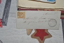 LETTRE AVEC TIMBRE 28B NIII 10C BISTRE CAD A CERCLE  POINTILLÉ  BOUSSAC 1_1_71 LOSANGE  GROS CHIFFRES 1198 +CAD - 1863-1870 Napoléon III. Laure