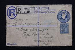 MALTE - Entier Postal + Complément En Recommandé De Valletta Pour La France - L 20877 - Malte