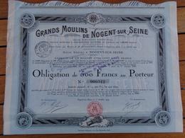 NOUVEAU - FRANCE -AUBE - GRANDS MOULINS DE NOGENT SUR SEINE -- OBLIGATION 500 FRS - NOGENT SUR SEINE 1919 - Shareholdings