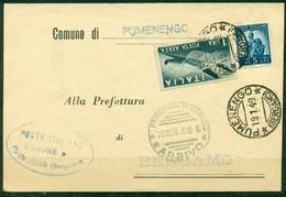 V9820 ITALIA REPUBBLICA 1949 Cartolina Affrancata Con Democratica 5 L. + Posta Aerea 1 L., Da Pumenengo 19.1.49 Per Bg - 6. 1946-.. Repubblica
