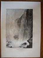 Canada, Les Chutes Du Niagara, La Grotte Des Vents  Gravure    1880 - Vieux Papiers
