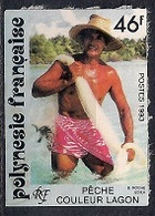French Polynesia 1993 - Fishing In Couleur Lagoon - Self-Adhesive - French Polynesia