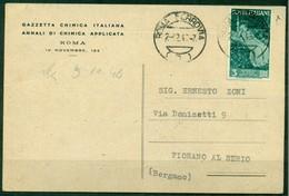 V9841 ITALIA REPUBBLICA 1946 Cartolina Commerciale Affrancata Con Repubbliche Marinare 3 L. ISOLATO, Da Roma 2.12.46 - 6. 1946-.. Repubblica