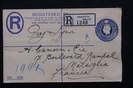 MALTE - Entier Postal + Complément Au Verso En Recommandé De Valletta Pour La France En 1937 - L 20880 - Malte