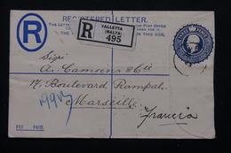 MALTE - Entier Postal + Complément Au Verso En Recommandé De Valletta Pour La France En 1933 - L 20881 - Malte