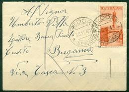 V9845 ITALIA REPUBBLICA 1946 Lettera Affrancata Con Repubbliche Marinare 4 L. ISOLATO, Da Predore 30.12.46 Per Bergamo, - 6. 1946-.. Repubblica