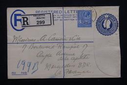 MALTE - Entier Postal + Complément En Recommandé De Valletta Pour La France - L 20882 - Malte