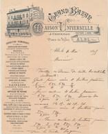 Facture Illustrée 4/5/1895 CHAVENON Grand Bazar Maison Universelle Jouets Jeux Société ALBI Tarn - 1800 – 1899