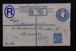 MALTE - Entier Postal + Complément En Recommandé De Valletta Pour La France En 1933 - L 20883 - Malte