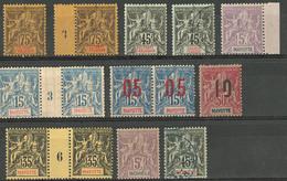 * Type Groupe 1900-1912, Divers D'Anjouan, Mayotte Et Mohéli. - TB Ou B - Frankreich (alte Kolonien Und Herrschaften)