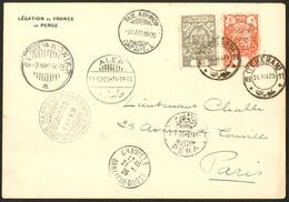 Lettre IRAN. Poste Aérienne. Raid Téhéran-Paris 22 Dec 1925. Poste 487 + 488 Sur Enveloppe à En Tête Légation De France  - Iran