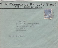 SA FABRICA DE PAPELAO TIMBO. ENVELOPPE CIRCULEE 1940 STA CATHARINA A SAO PAULO. BRASIL - BLEUP - Brazil