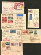 Lettre Zeppelin 1929-1933, 6 Enveloppes Avec Affts, Obl, Griffes Et Destinations Divers. - TB - Sammlungen (im Alben)