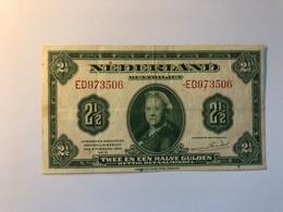 Billet Pays Bas 2 1/2 Gulden 1943 - [2] 1815-… : Royaume Des Pays-Bas