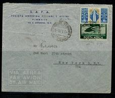 ITALIA REPUBBLICA Storia Postale 1948 Lettera Da Firenze A New York  In Tariffa Affr. Con 200 Lire Santa Caterina - 6. 1946-.. Repubblica