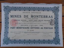 NOUVEAU - FRANCE - CREUSE - MINES DE MONTEBRAS : MINE D'ETAIN - PART BENEFICIAIRE DIFFEREE - PARIS 1910 - Shareholdings