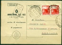 V8963 ITALIA REPUBBLICA 1947 Avviso Di Ricevimento (Mod. 23-I Ediz. 1946) Affrancato Con 3+3 L. Democratica E Annullo - 6. 1946-.. Repubblica