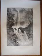 Catskills Falls, New York.  Gravure    1880 - Vieux Papiers