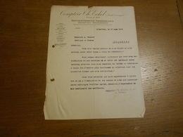 """Ancienne Lettre """"Comptoir Ch.Eckel """"   Bruxelles 1920 Renseignements Commerciaux,contentieux ,recouvrement - Banque & Assurance"""