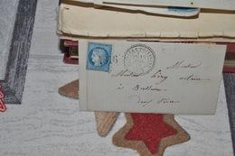 LETTRE AVEC TIMBRE 60A CÉRES 25C BLEU TYPE (I)  CAD A CERCLE POINTILLÉ  BUSSIÉRE POITEVINE JUIL 73 .LOS GROS CH - 1871-1875 Ceres