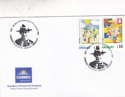 100 AÑOS DEL MOVIMIENTO SCOUT INTERNACIONAL-FDC 2007 URUGUAY. STAMP A PAIR - BLEUP - Scouting