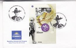 100 AÑOS DEL MOVIMIENTO SCOUT INTERNACIONAL-FDC 2007 URUGUAY. BLOCK STAMP, SE TENANT - BLEUP - Scouting