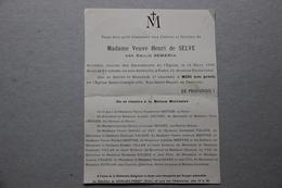 Faire-part De Décès Mme Veuve Henri De Selve Née Emilie Semeria , Paris 1926 - Décès