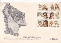 SERIE ARTE BRASILEIRA, HOMENAGEM A ANTONIO FRANCISCO LISBOA, O ALEIJADINHO-FDC 1980 RIO DE JANEIRO STAMP BLOCK.  - BLEUP - Sculpture