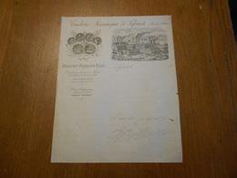 Ancien Papier à Lettre Tuilerie Mécanique De Leforest Pas De Calais Maison Royaux Fils Belle Gravure De L'usine Et Train - France