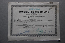 Lycée De Toulon (Var), Conseil De Discipline, Classe De Navale, Félicitations, 1946 - Diploma & School Reports