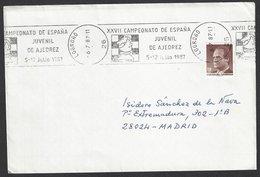 Chess, Spain Logrono, July 1987, Special Roller Cancel On Envelope, Spanish Junior Championship - Schaken