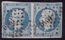 N°14Ah POSTFS En Paire, Position 89 Et 90D2, Rare En Paire Et Très Rare Au 1er état. - 1853-1860 Napoléon III