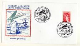 2ème Guerre Mondiale Réseau Alliance-unité Combattante Résistance. Oblitérée à Ussel Corrèze. Marianne Sabine De Gandon - Militaria