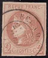 N°40B Belle Exemplaire Avec Cachet à Date Très Léger, Une Froissure Très Légère En Bas, 1er Choix, - 1870 Emission De Bordeaux