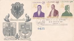 ARMAS DE SANTA FE DE BOGOTA. ARMAS DE MEDELLIN, ARMAS DE POPAYAN-FDC 1967 BOGOTA, COLOMBIA. 3 COLOR STAMPS - BLEUP - Colombia