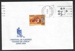 Chess, Spain Lorca, June 2004, Special Slogan Cancel On Envelope, Festival Of Chess - Schaken