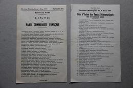 Albi (Tarn), Elections Municipales Du 8 Mars 1959, Listes Parti Communiste Français Et Union Forces Démocratiques - Vieux Papiers