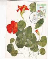 MASTUERZO, TROPAEOLUM MAJUS. ACUARELA OLIVIA WATKIN. FLORA DEL PERU. FDC 1986 LIMA, CARD - BLEUP - Roses