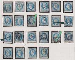 N°29 22 Exemplaires Avec Piquage à Cheval Dont Certains Très Spectaculaires Et Autres Variétés, Très Intéressant. - 1863-1870 Napoléon III. Laure