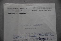 Commune De Papeete (Tahiti, Polynésie Française), Radiation Listes électorales, 1951 - Old Paper